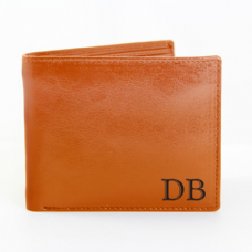 Initials Tan Leather Wallet